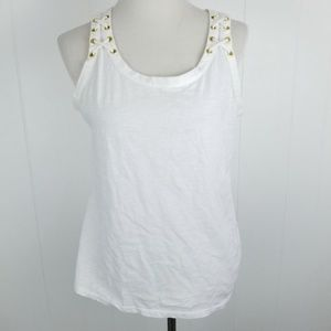 Apt. 9 White Scoop Neck Tank Gold Grommet Lace Up